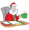 Cartoon Santa Sitting at a Desk vector image vector image