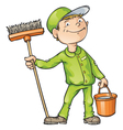 Cleaner Holding a Brush And a Bucket vector image vector image