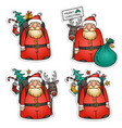 collection of santa claus stickers christmas eve vector image