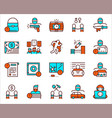 color linear icon banner set crime vector image
