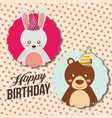 cute animal happy birthday vector image