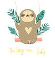 cute swinging sloth happy animal design vector image vector image