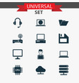 device icons set collection of dossier laptop vector image vector image