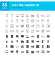 digital gadgets line web glyph icons vector image