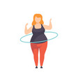 fat girl spinning the hula hoop around the waist vector image