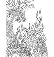 fire dragon graphic black and white sketch vector image