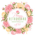 floral circle frame with peony flowers vector image vector image