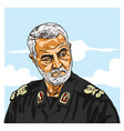 general qasem soleimani cartoon caricature vector image vector image