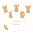 golden christmas angels with wings and nimbus vector image