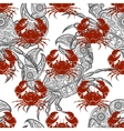 grey and red crabs seamless pattern vector image vector image
