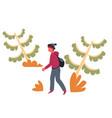 guy in forest hiker or backpacker traveler or vector image