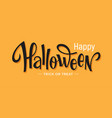 happy halloween lettering on orange background vector image vector image