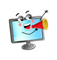 happy lcd monitor with megaphone vector image vector image