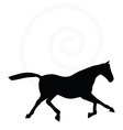 horse silhouette in fast trot pose vector image
