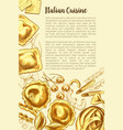 italian pasta poster for cuisine template vector image vector image