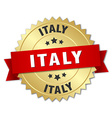 Italy round golden badge with red ribbon vector image vector image