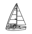 line sailing boat style transport sea vector image vector image