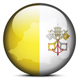 Map on flag button of Vatican City State Holy See vector image vector image