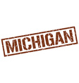 Michigan brown square stamp vector image vector image