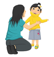 Of Mum Helping Daughter Wearin vector image vector image