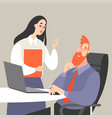 office life with a man and a woman vector image