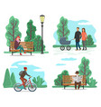 park and nature people walking or riding bicycle vector image