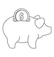 piggy bank icon outline style vector image