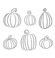 pumpkins collection various types back contour vector image