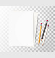 realistic wood pencils paper rubber eraser vector image