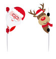 reindeer and santa claus holding a sign vector image vector image
