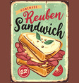 sandwich vintage sign vector image vector image