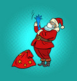 santa claus in a medical mask new year and vector image