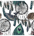 seamless pattern with whales and dreamcatcher vector image vector image