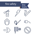 set line icons for fire safety vector image