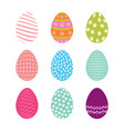set of easter eggs with seamless patterns vector image
