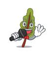 singing chard mascot cartoon style vector image