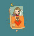 sleeping girl baby in bed with toys time to vector image vector image