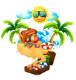 Summer theme with island and sun vector image vector image