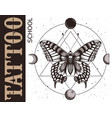 tattoo school banner with butterfly geometry vector image vector image
