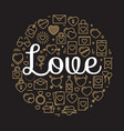 the word love surrounded by icons and hearts vector image vector image