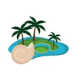 tropical island and conch icon vector image vector image