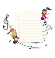 two kids riding music notes with paper blank back vector image vector image
