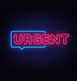 urgent neon text design template urgent vector image vector image