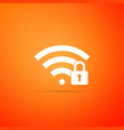 wifi locked sign icon on orange background vector image vector image