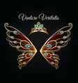 wings and tiara gold logo vector image