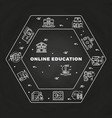 online education line art concept on blackboard vector image