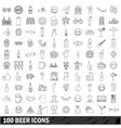 100 beer icons set outline style vector image