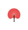 asian red fan icon flat cartoon vector image vector image