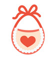 baby bib with red heart vector image vector image