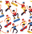boy skater seamless pattern teenagers on vector image vector image